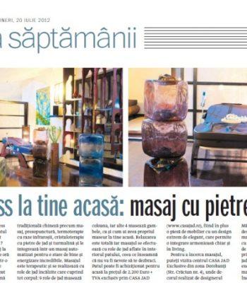 CASA JAD aparitie romania libera iulie 2012 wellness masaj cu pietre calde